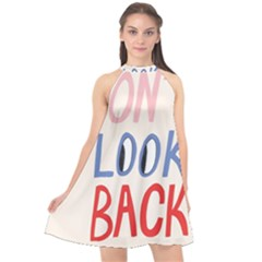 Don t Look Back Big Eye Pink Red Blue Sexy Halter Neckline Chiffon Dress  by Mariart