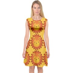Cute Lion Face Orange Yellow Animals Capsleeve Midi Dress by Mariart
