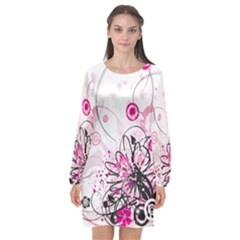 Wreaths Frame Flower Floral Pink Black Long Sleeve Chiffon Shift Dress  by Mariart