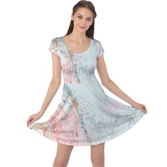 Geode Crystal Pink Blue Cap Sleeve Dresses by Mariart
