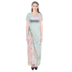 Geode Crystal Pink Blue Short Sleeve Maxi Dress by Mariart
