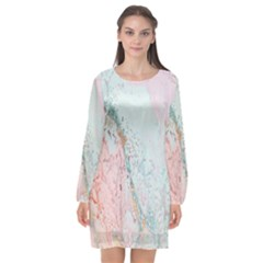 Geode Crystal Pink Blue Long Sleeve Chiffon Shift Dress  by Mariart