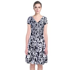 Deskjet Ink Splatter Black Spot Short Sleeve Front Wrap Dress by Mariart