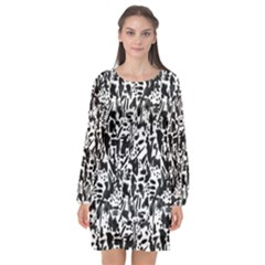Deskjet Ink Splatter Black Spot Long Sleeve Chiffon Shift Dress  by Mariart