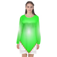 Heart Rhythm Inner Green Red Long Sleeve Chiffon Shift Dress  by Mariart