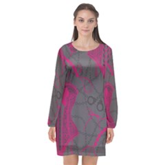 Pink Black Handcuffs Key Iron Love Grey Mask Sexy Long Sleeve Chiffon Shift Dress