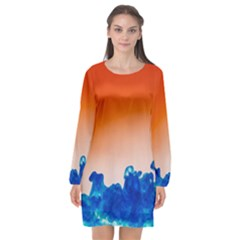 Simulate Weather Fronts Smoke Blue Orange Long Sleeve Chiffon Shift Dress  by Mariart