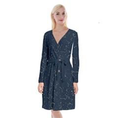 Star Zodiak Space Circle Sky Line Light Blue Yellow Long Sleeve Velvet Front Wrap Dress by Mariart