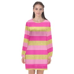 Pink Line Gold Red Horizontal Long Sleeve Chiffon Shift Dress