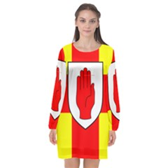 Flag Of The Province Of Ulster  Long Sleeve Chiffon Shift Dress  by abbeyz71