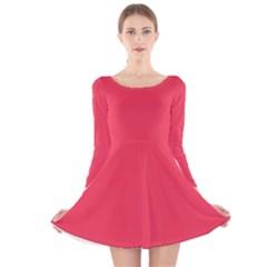 Neon Color   Brilliant Amaranth Long Sleeve Velvet Skater Dress by tarastyle