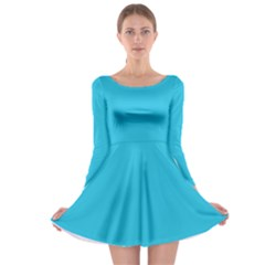 Neon Color   Brilliant Arctic Blue Long Sleeve Skater Dress by tarastyle