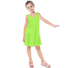 Neon Color   Brilliant Charteuse Green Kids  Sleeveless Dress by tarastyle