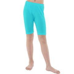 Neon Color   Brilliant Cyan Kids  Mid Length Swim Shorts by tarastyle
