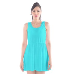 Neon Color   Brilliant Cyan Scoop Neck Skater Dress by tarastyle