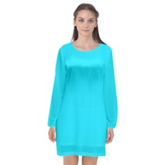 Neon Color   Light Brilliant Arctic Blue Long Sleeve Chiffon Shift Dress  by tarastyle