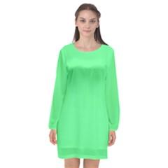 Neon Color   Light Brilliant Malachite Green Long Sleeve Chiffon Shift Dress  by tarastyle
