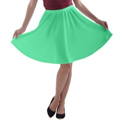 Neon Color   Light Brilliant Spring Green A Line Skater Skirt by tarastyle