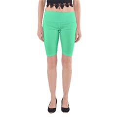 Neon Color   Light Brilliant Spring Green Yoga Cropped Leggings by tarastyle