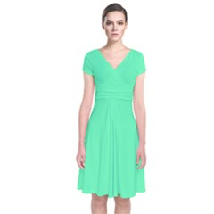 Neon Color   Light Brilliant Spring Green Short Sleeve Front Wrap Dress by tarastyle