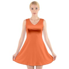 Neon Color   Light Brilliant Vermilion V Neck Sleeveless Skater Dress by tarastyle
