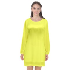 Neon Color   Light Brilliant Yellow Long Sleeve Chiffon Shift Dress  by tarastyle