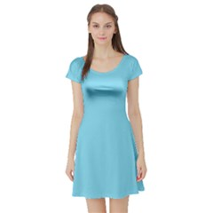 Neon Color   Luminous Vivid Blue Short Sleeve Skater Dress by tarastyle