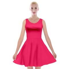 Neon Color   Luminous Vivid Crimson Velvet Skater Dress by tarastyle