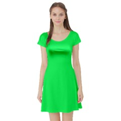 Neon Color   Luminous Vivid Malachite Green Short Sleeve Skater Dress by tarastyle