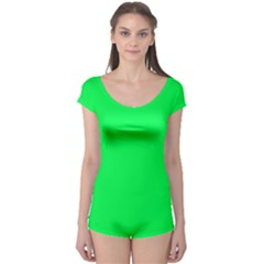 Neon Color   Luminous Vivid Malachite Green Boyleg Leotard  by tarastyle