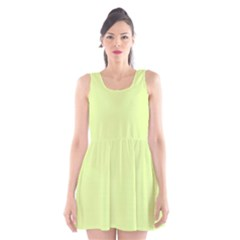 Neon Color   Pale Lime Green Scoop Neck Skater Dress by tarastyle