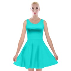 Neon Color   Vivid Cyan Velvet Skater Dress by tarastyle