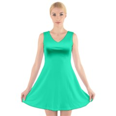 Neon Color   Vivid Turquoise V Neck Sleeveless Skater Dress by tarastyle