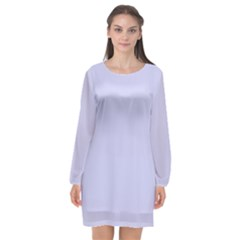 Pastel Color   Light Bluish Gray Long Sleeve Chiffon Shift Dress  by tarastyle