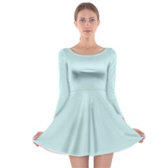 Pastel Color   Light Cyanish Gray Long Sleeve Skater Dress by tarastyle