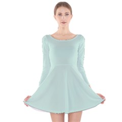 Pastel Color   Light Greenish Gray Long Sleeve Velvet Skater Dress by tarastyle