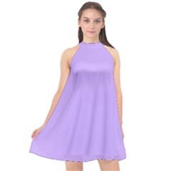 Pastel Color   Pale Blue Violet Halter Neckline Chiffon Dress