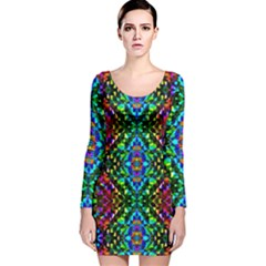 Glittering Kaleidoscope Mosaic Pattern Long Sleeve Velvet Bodycon Dress by Costasonlineshop