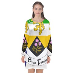 County Offaly Coat Of Arms  Long Sleeve Chiffon Shift Dress  by abbeyz71