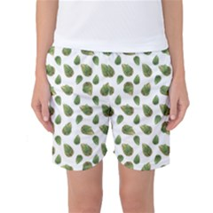 Leaves Motif Nature Pattern Women s Basketball Shorts by dflcprintsclothing