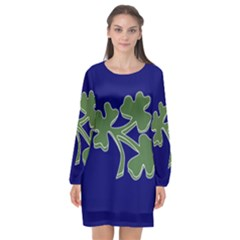 Flag Of Ireland Cricket Team  Long Sleeve Chiffon Shift Dress