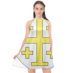The Arms Of The Kingdom Of Jerusalem  Halter Neckline Chiffon Dress  by abbeyz71