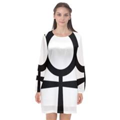 Coptic Ankh  Long Sleeve Chiffon Shift Dress