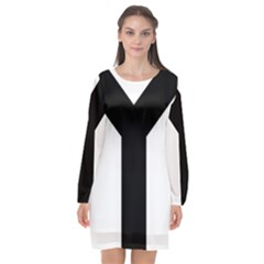 Forked Cross Long Sleeve Chiffon Shift Dress  by abbeyz71