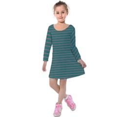 Decorative Lines Pattern Kids  Long Sleeve Velvet Dress by Valentinaart