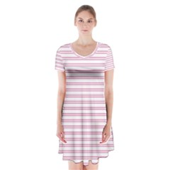 Decorative Line Pattern Short Sleeve V Neck Flare Dress by Valentinaart