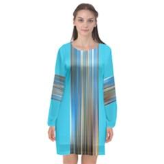Blue Metal-annabellerockz-2 Long Sleeve Chiffon Shift Dress  by annabellerockzfashion