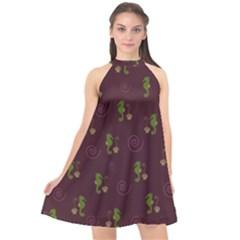 Pattern Halter Neckline Chiffon Dress  by Valentinaart