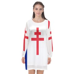 Flag Of Free France (1940 1944) Long Sleeve Chiffon Shift Dress  by abbeyz71