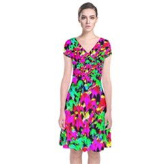 Colorful Leaves Short Sleeve Front Wrap Dress by Costasonlineshop
